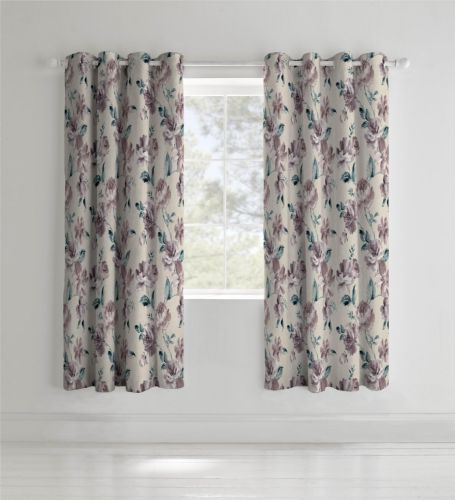Catherine Lansfield Painted Floral Plum Eyelet Curtains